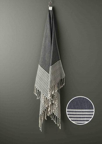 Produktbillede af sort strandhåndklæde med striber