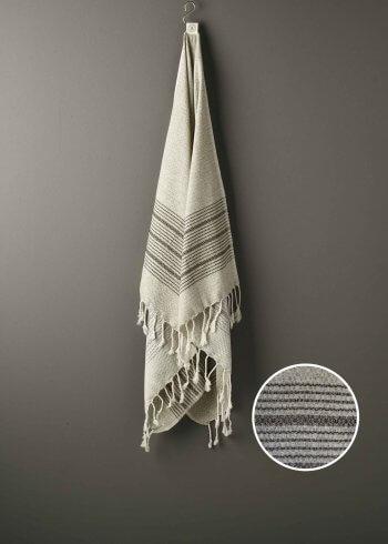 Produktbillede af strandhåndklæde i brun med striber