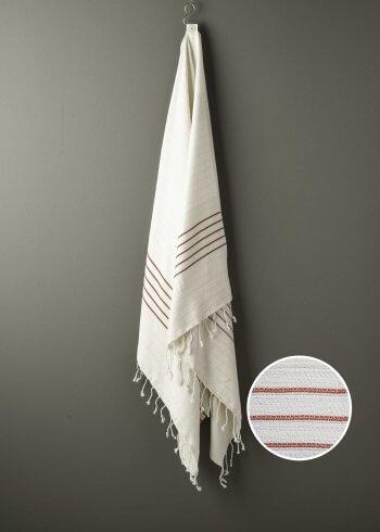 Produktbillede af strandhåndklæde i røde med striber