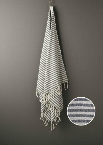 Produktbillede af stribet strandhåndklæde i blå