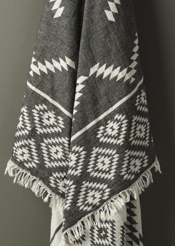 Nært produktbillede af strandhåndklæde i grå med ternet mønster