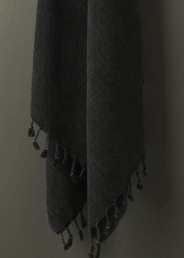Nært produktbillede af sort strandhåndklæde
