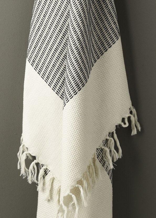 Nært produktbillede af strandhåndklæde i sort