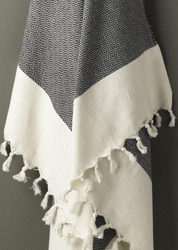 Nært produktbillede af sort strandhåndklæde med diamtmønster