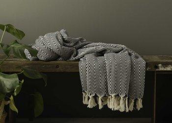 Produktbillede af sort tæppe med sildeben