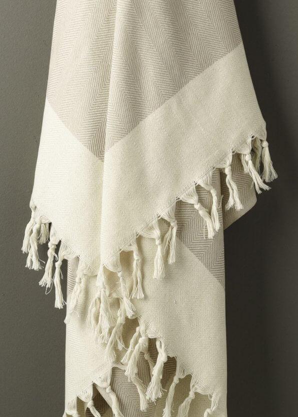 Nært produktbillede af Strandhåndklæde i beige med sildebenmønster