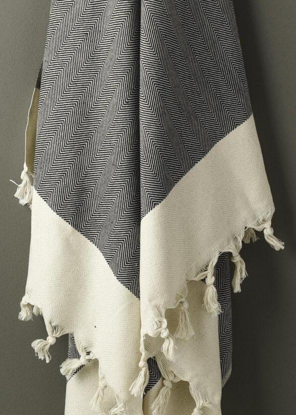 Nært produktbillede af strandhåndklæde i sort med sildebenmønster