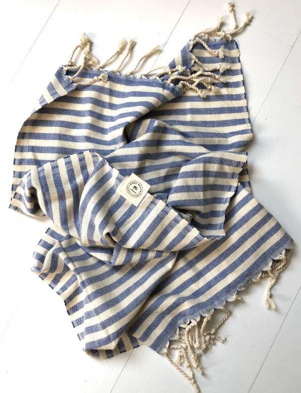 Poduktbillede gæstehåndklæde santorini blaa